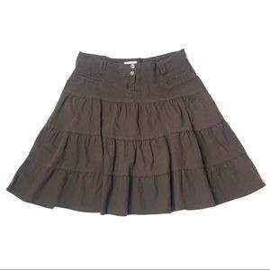 Balenciaga Brown Linen Tiered Peasant Skirt